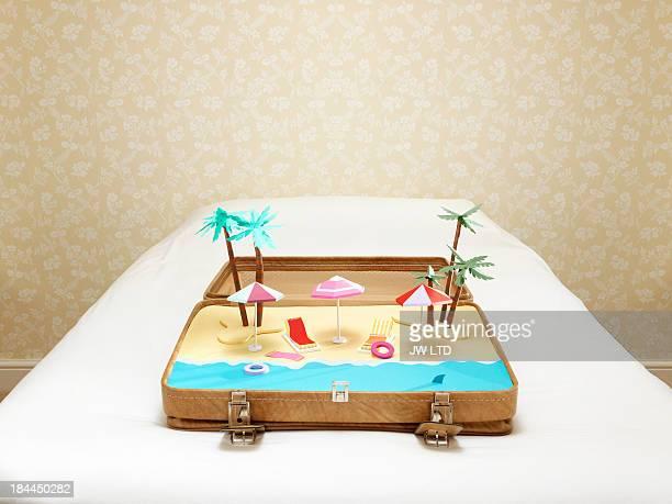 tropical beach scene inside a suitcase