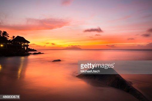 Tropical Beach Sunset in Mahe, Seychelles