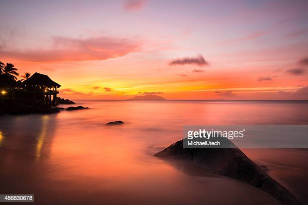 Tropical Beach Sunset in Mahe, Seychelles