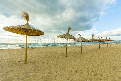 Tropical Beach With Umbrellas Sunbeds Majorca Palma De