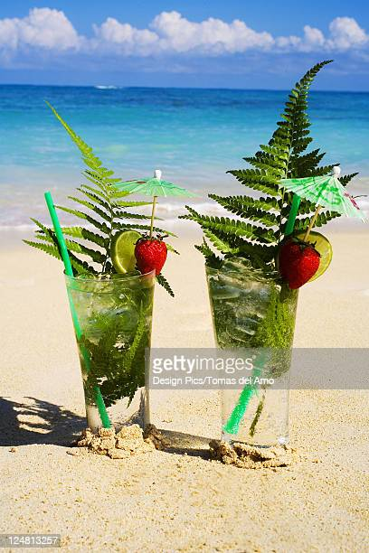 Tropical cocktails on the beach garnished with fruit and green fern leaves.