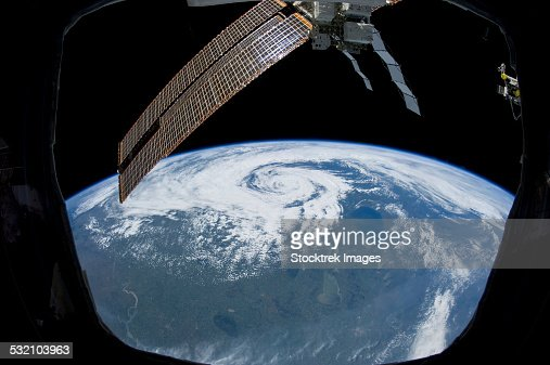 Tropical cyclone located over northern Saskatchewan, Canada.