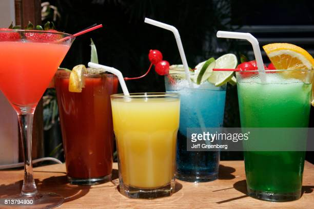 A tropical drink display at a restaurant on Ocean Drive