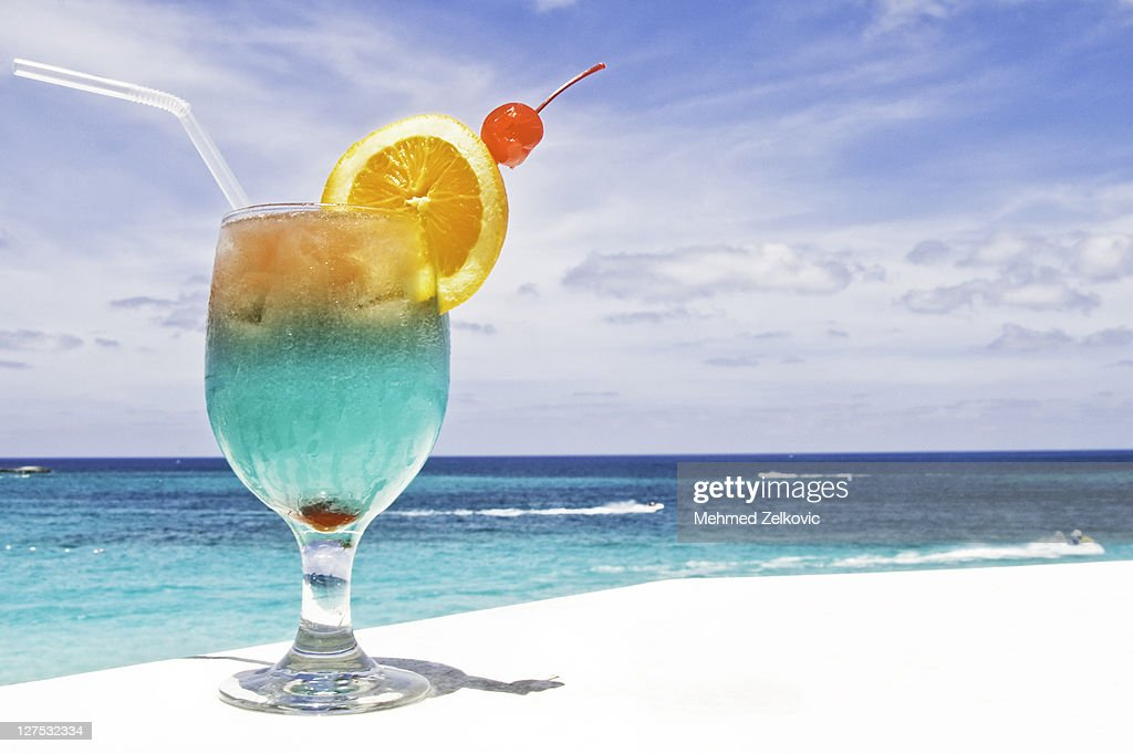 Tropical drink on paradise vacation : Stock Photo