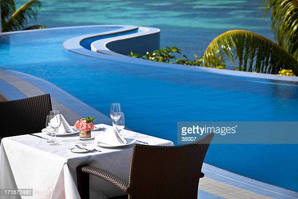 tropical fine dining table setting
