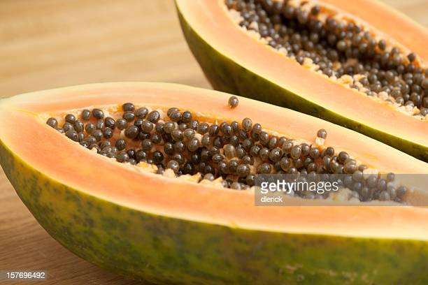 Tropical Fruit: Papaya Cross Section Halves before Seed Removal