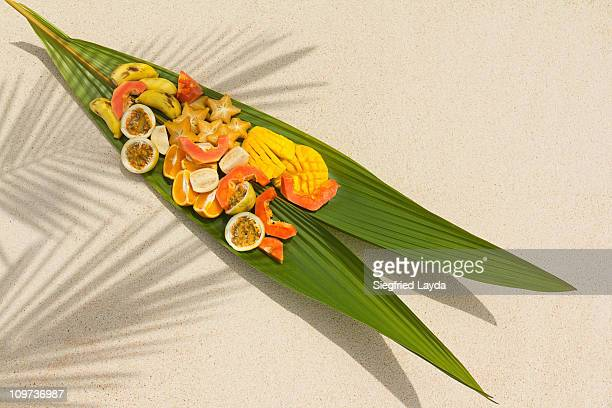 Tropical Fruit served on Palm Leaf