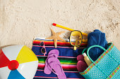 Tropical Gear and Necessities on Sandy Beach Hz