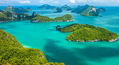 Tropical group of islands in Ang Thong National Marine Park, Thailand. Top view