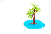 Palm tree and ocean tropical minimal creative concept. Space for copy.