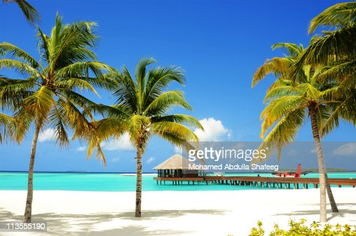 Tropical Island and lagoon, Maldives, Indian Ocean