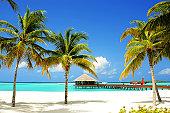 Tropical Island and lagoon, Maldives, Indian Ocean