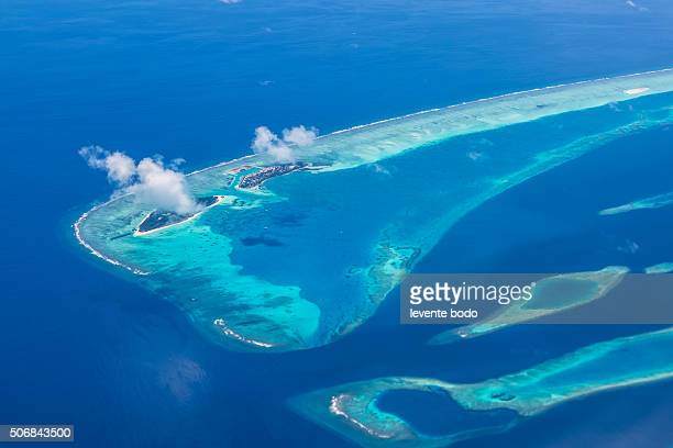 Tropical island at Maldives - aerial view