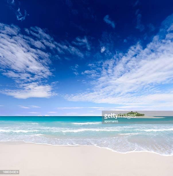 Tropische Insel-Strand mit tiefblauen Himmel über dem Ozean