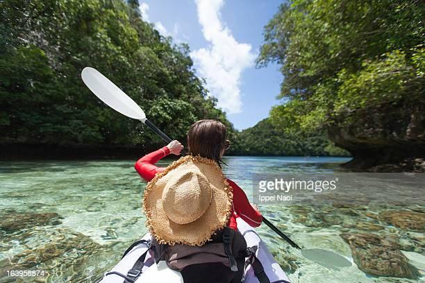 Tropical island lagoon kayaking, Palau