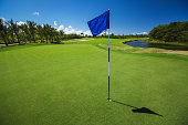 Beautiful landscape of a golf court with palm trees in Punta Cana, Dominican Republic