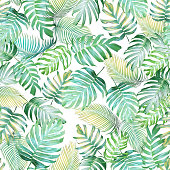 Tropical leaves seamless pattern of Monstera philodendron and palm leaves in light green-yellow color tone, tropical background.
