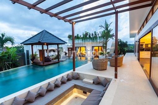 Tropical modern villa exterior : Stock Photo