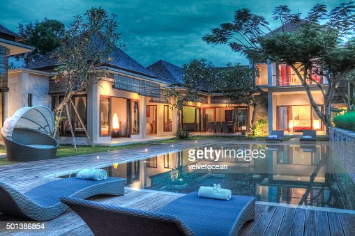 Tropical modern villa : Stock Photo
