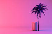3d rendering of Tropical palm tree and suitcase on neon gradient color background, minimal summer and travel concept.