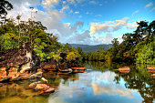 Beautiful view of the tropical jungle river at the beach of Masoala National Park in Madagascar