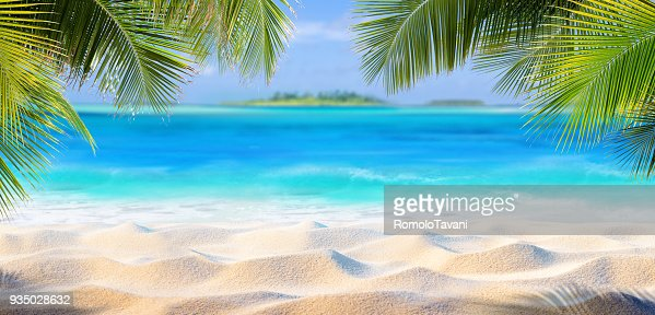 Tropical Sand With Palm Leaves And Paradise Island : Stock Photo