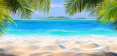 Summer Background - Palm Beach With Caribbean Sea