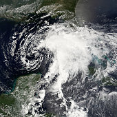 Tropical Storm Alberto formed as a tropical depression early in the morning on June 10, 2006, in the Yucatan Channel. This narrow gap of ocean lies between the western end of Cuba and the Yucatan Peni
