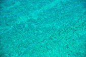 A wide angle, aerial view of south Florida's Biscayne Bay highlighting the colors of the tropical waters and the textures of the shallow depth and waves for a great nature background.