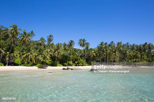 Tropical white Sand Beach and Beautiful Sea with Blue Sky.
