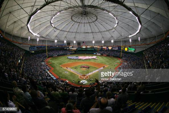 Tropicana Field is shown before the Tampa Bay Devil Rays home opener against the Baltimore Orioles at Tropicana Field on April 10 2006 in St...