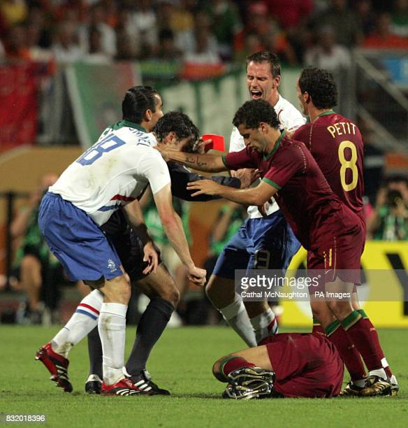 Trouble ensues after a foul by Holland's Khalid Boulahrouz on Portugal's Luis Figo