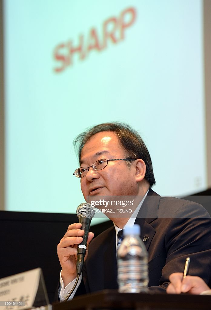 Troubled Japanese electronics giant Sharp president Takashi Okuda announces the company's third-quarter financial results in Tokyo on February 1, 2013. Sharp said on February 1 that its loss in the nine months to December doubled to $4.6 billion as the embattled Japanese electronics giant struggles to repair its tattered balance sheet. AFP PHOTO / Yoshikazu TSUNO