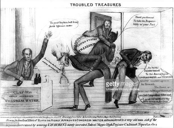 Troubled treasures by R Bisbee circa 1833 Political cartoon expressing antiJackson views and supporting Henry Clay's part in Congressional resistance...