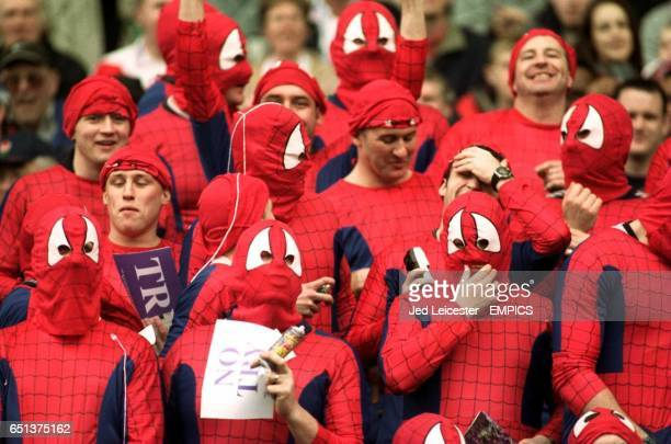 A troupe of Spidermen at the Silk Cut Challenge Cup