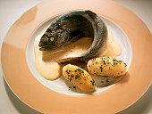 Trout au bleu with Sherry Mousse