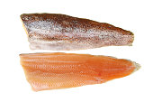 Two trout fillets isolated against white