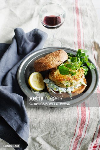 Trout tzatziki burger on plate