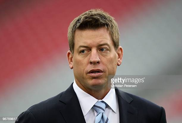 Troy Aikman attends the 2010 NFC wildcard playoff game between the Green Bay Packers the Arizona Cardinals at the Universtity of Phoenix Stadium on...