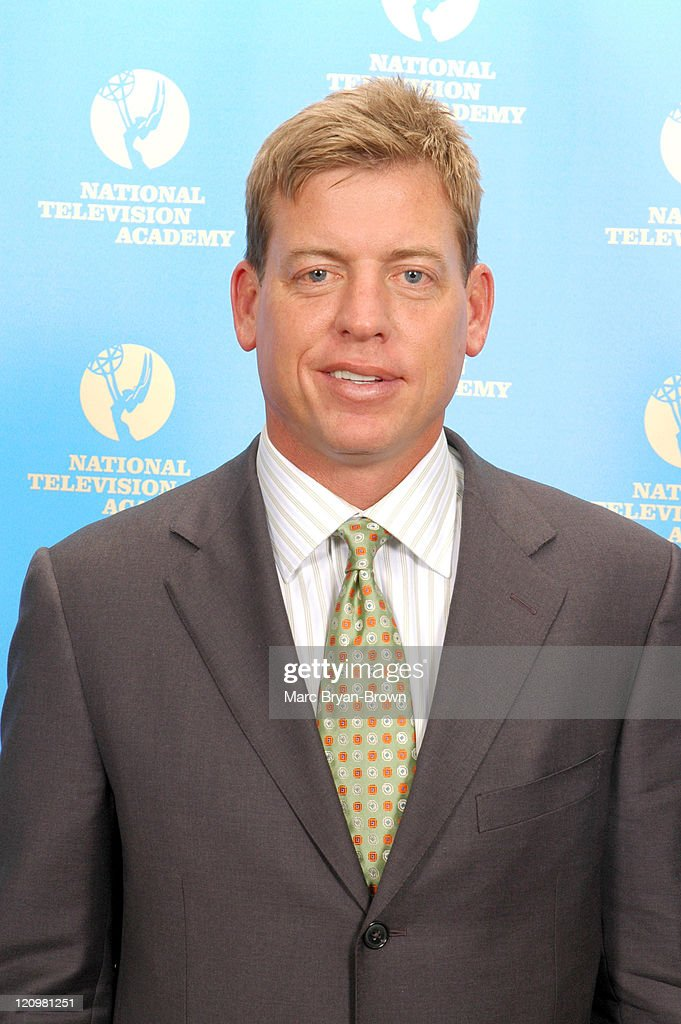 <a gi-track='captionPersonalityLinkClicked' href=/galleries/search?phrase=Troy+Aikman&family=editorial&specificpeople=206871 ng-click='$event.stopPropagation()'>Troy Aikman</a> during 27th Annual Sports Emmy Awards - Press Room at Frederick P. Rose Hall at Lincoln Center in New York City, New York, United States.