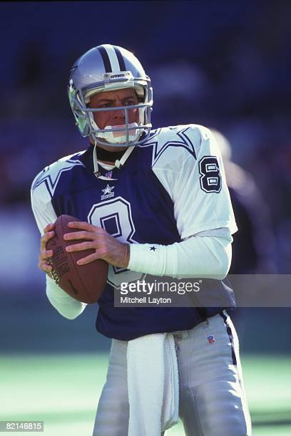 Troy Aikman of the Dallas Cowboys before a NFL football game against the Philadelphia Eagles on December 10 1995 at Veterans Stadium in Philadelphia...