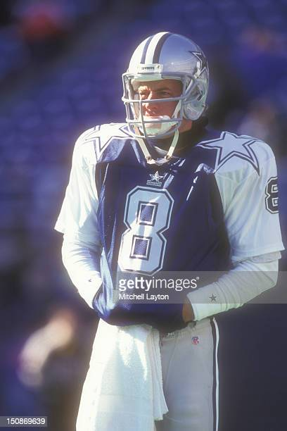 Troy Aikman of the Dallas Cowboys looks on during a football game against the Philadelphia Eagles on December 10 1995 at Veterans Stadium in...
