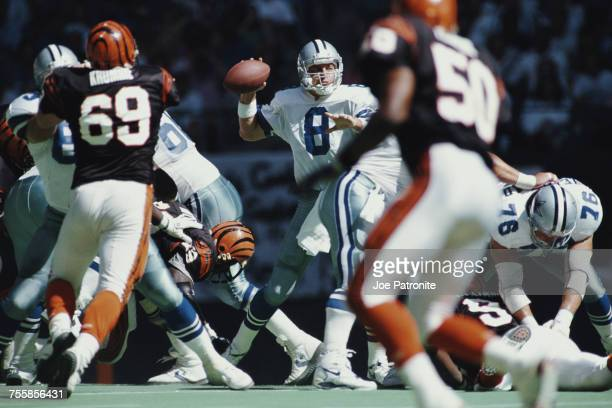 Troy Aikman Quarterback for the Dallas Cowboys prepares to throw during the National Football Conference East game against the Cincinnati Bengals on...