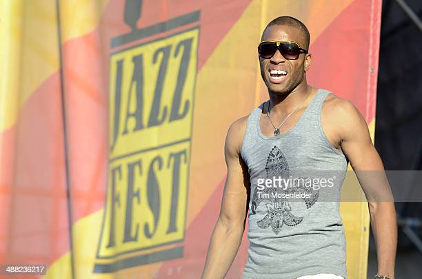 Troy Andrews aka Trombone Shorty performs during Day 7 of the 2014 New Orleans Jazz Heritage Festival at Fair Grounds Race Course on May 4 2014 in...