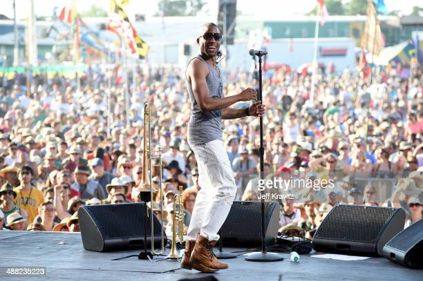 Troy Andrews of Trombone Shorty performs during the 2014 New Orleans Jazz Heritage Festival at Fair Grounds Race Course on May 4 2014 in New Orleans...
