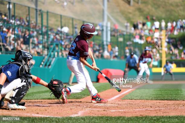Troy Ashkinos of the New England team from Connecticut bats during Game 2 of the 2017 Little League World Series against the MidAtlantic team from...