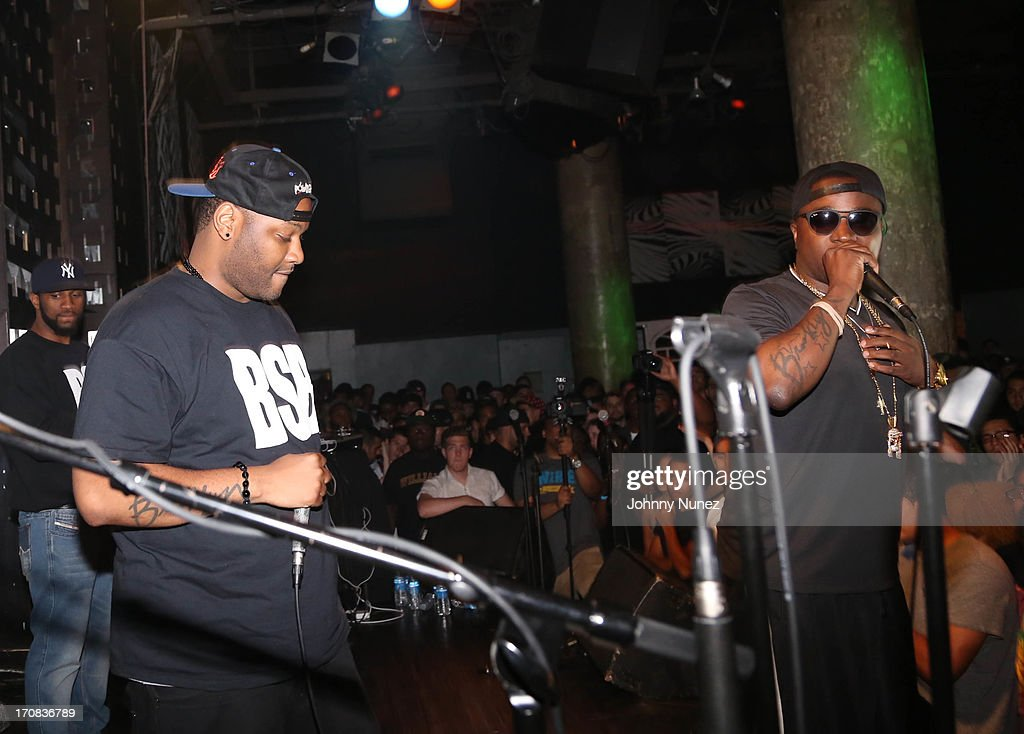 Troy Ave (R) performs at SOB's on June 18, 2013 in New York City.