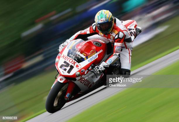 Troy Bayliss of Australia and Ducati Xerox Team in action on his way to victory during race one of Round Eleven of the Superbike World Championship...