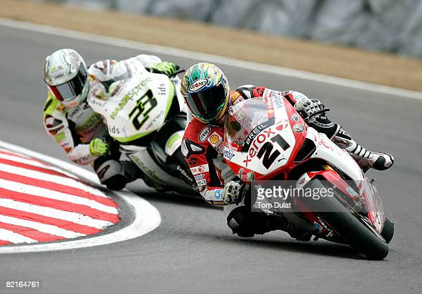 Troy Bayliss of Australia and the Ducati Xerox Team in action during race one of Round Ten of the Superbike World Championship at Brands Hatch on...