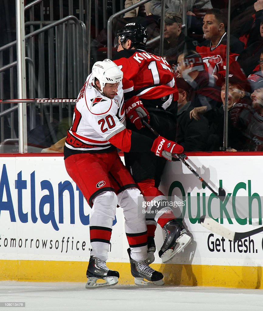 <a gi-track='captionPersonalityLinkClicked' href=/galleries/search?phrase=Troy+Bodie&family=editorial&specificpeople=2126082 ng-click='$event.stopPropagation()'>Troy Bodie</a> #20 of the Carolina Hurricanes boards <a gi-track='captionPersonalityLinkClicked' href=/galleries/search?phrase=Ilya+Kovalchuk&family=editorial&specificpeople=201796 ng-click='$event.stopPropagation()'>Ilya Kovalchuk</a> #17 of the New Jersey Devils at the Prudential Center on February 16, 2011 in Newark, New Jersey.